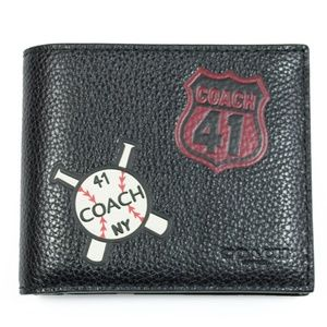NEW COACH Men Mix Patches leather wallet LIMITED